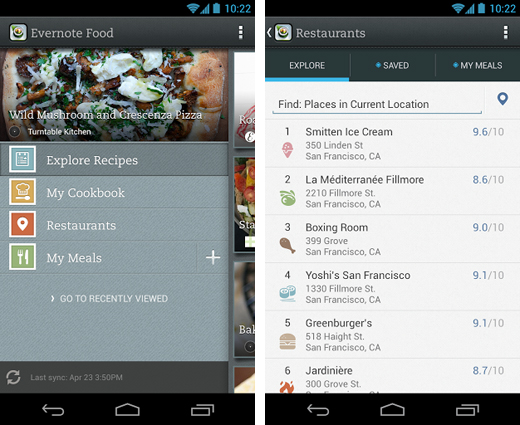 evernote Evernote Food for Android updated with new navigation options, OpenTable restaurant bookings and more