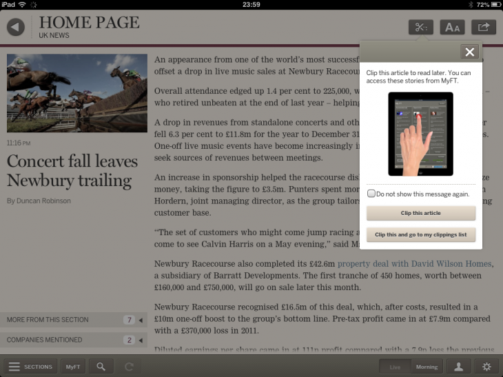f1 730x547 The FTs new iPad Web app features morning and live editions, a personalized MyFT hub, and more
