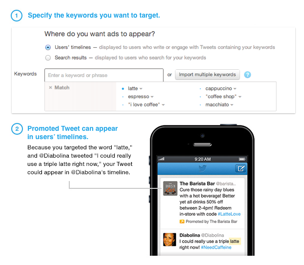 keywordtargetingintimeline Twitter now allows advertisers to target specific words used in tweets