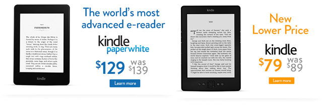 kindle prices Amazon trims Kindle and Kindle Paperwhite Wi Fi prices in Canada by $10, now $79 and $129 respectively