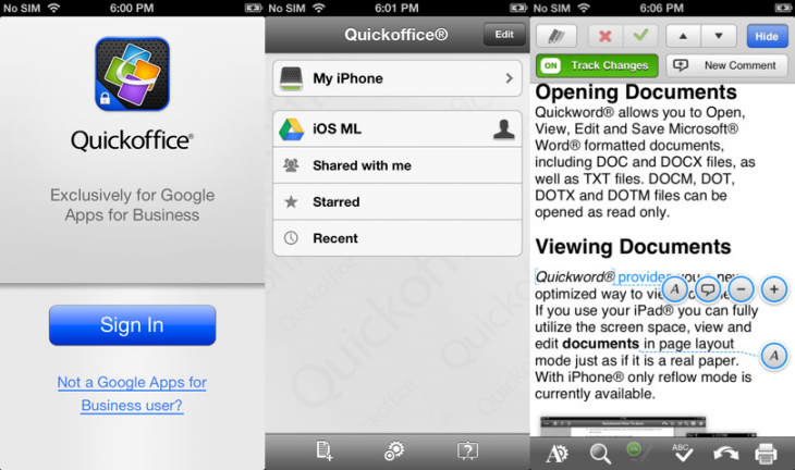 quickoffice iphone 730x432 Following iPad release, Google rolls out free Android and iPhone versions of Quickoffice for Apps customers