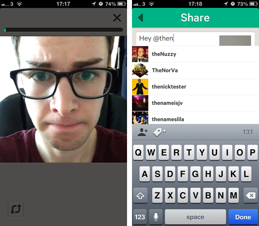 vine1 Twitter updates Vine for iOS so you can shoot with the front facing camera and mention users in posts