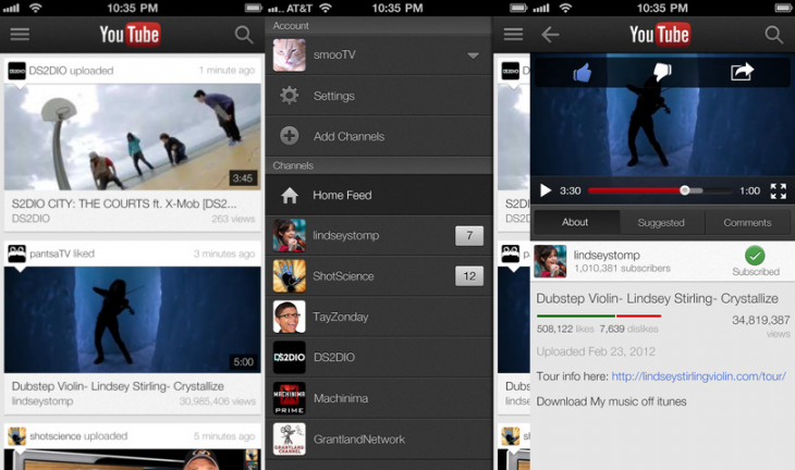 youtube ios 730x432 YouTube for iOS gets access to live streams, My Subscriptions feed, video queuing for TV playback, and more