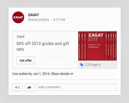 01 OfferZagat Google Offers expands to Google+, lets users discover, save and share promotions from their stream