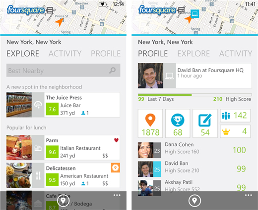 4sq Foursquare updates its app for Windows Phone 8 with lock screen notifications, NFC check ins and more