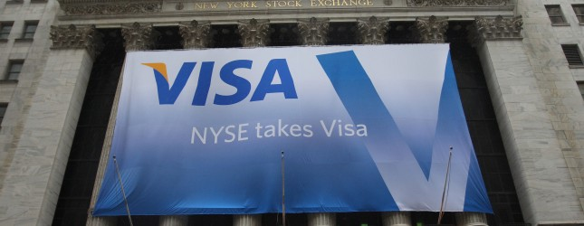 The VISA logo hangs on the front of the