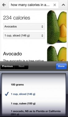 GS1 220x379 How many calories in a banana? Google now displays nutrition information directly in food searches