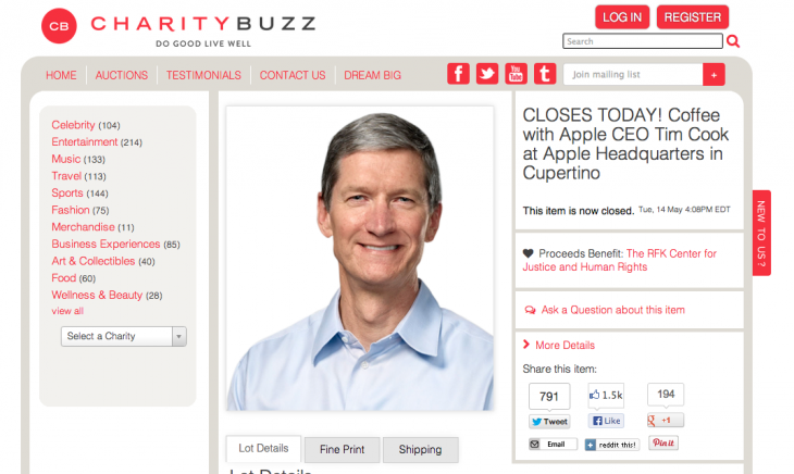 Screen Shot 2013 05 14 at 1.12.08 PM 730x436 Coffee time: Apple CEO Tim Cook auction closes at $610k with 86 bids