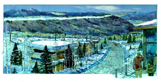 Village Rendering 3 View from Lodge 520x266 Entrepreneurial events firm Summit Series acquires Utah's Powder Mountain ski resort for $40m