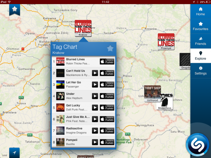 d13 730x547 Shazams iPad app now features background auto tagging, and maps to view most tagged songs by region