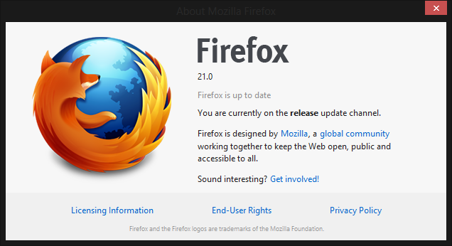 firefox 21 about You can download Firefox 21 for Windows, Mac, and Linux right now; official launch is tomorrow