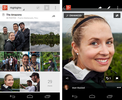 g11 Google+ app for Android updated with new photo editing features, related hashtags and locations area