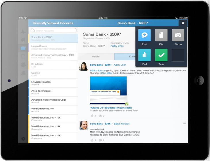 iPad fileRecord 730x562 Salesforces enterprise social network adds file sharing capabilities to its mobile iOS offering