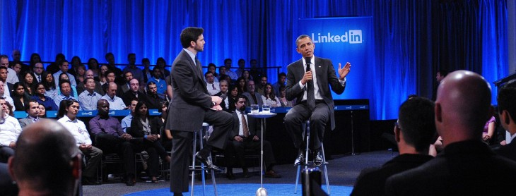 linkedin obama 730x278 This is your life, LinkedIn: Ten milestones that have helped shape the companys 10 year history