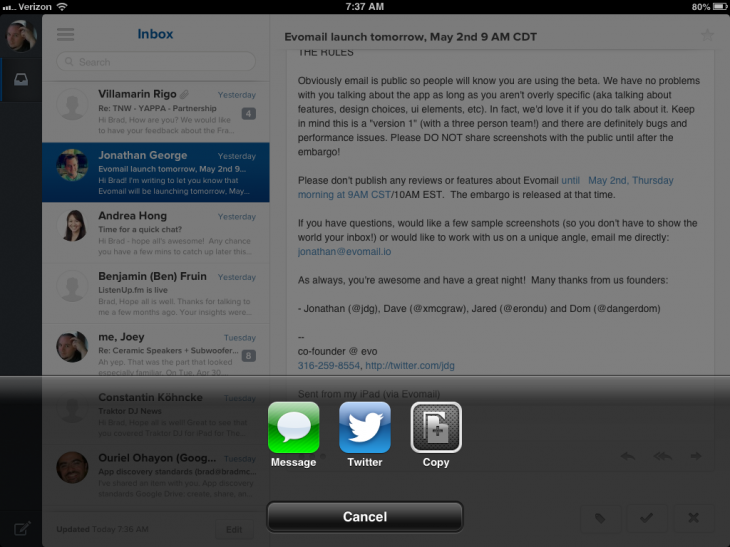 photo 730x547 Evomail for iPad is a slick and beautiful email client, no learning curve required