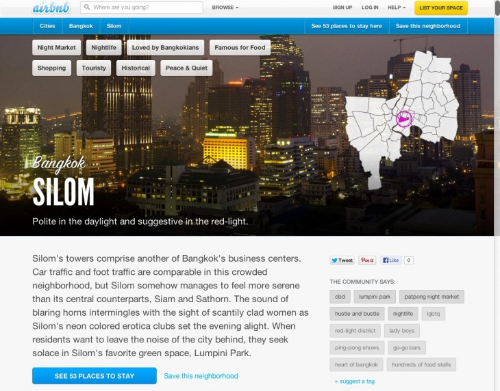 Silom screenshot 730x572 Airbnb brings its hyper local Neighborhoods feature to Asia, starting with Bangkok