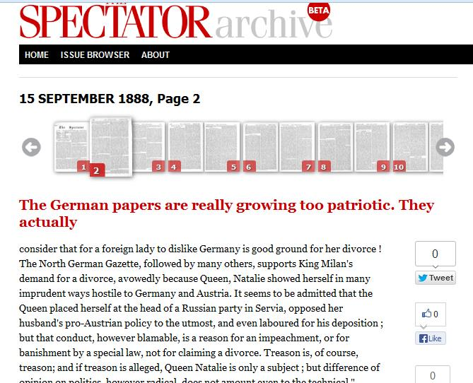 Spectator2 UK magazine The Spectator finally launches its 180 year online archive