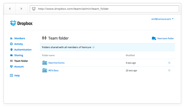 Team folder screenshot blog Dropbox for Business now lets administrators create team folders, accessible to all current and new members
