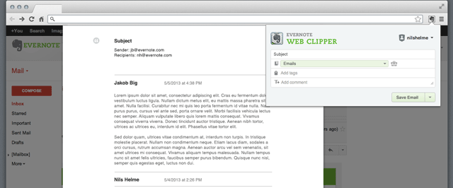 gmailclip Evernote updates Web clipper for Chrome to add Gmail clippings