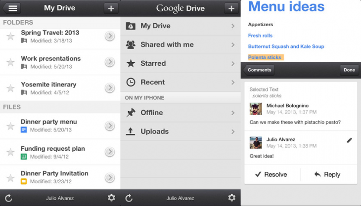 google drive ios 730x417 Google Drive for iOS adds support for comments on Docs files and image swipe navigation