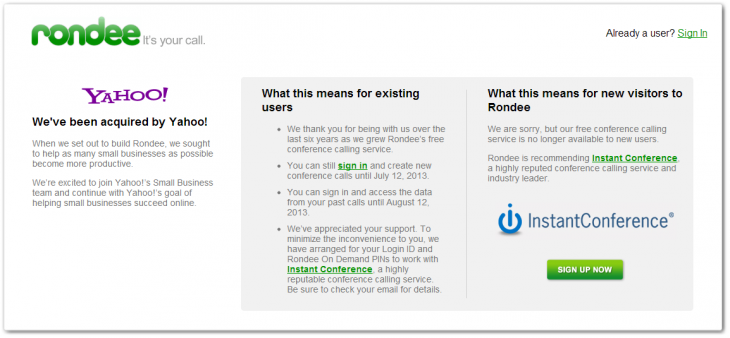 rondee1 730x338 Yahoo picks up conference call startup Rondee, will shutter the service on July 12