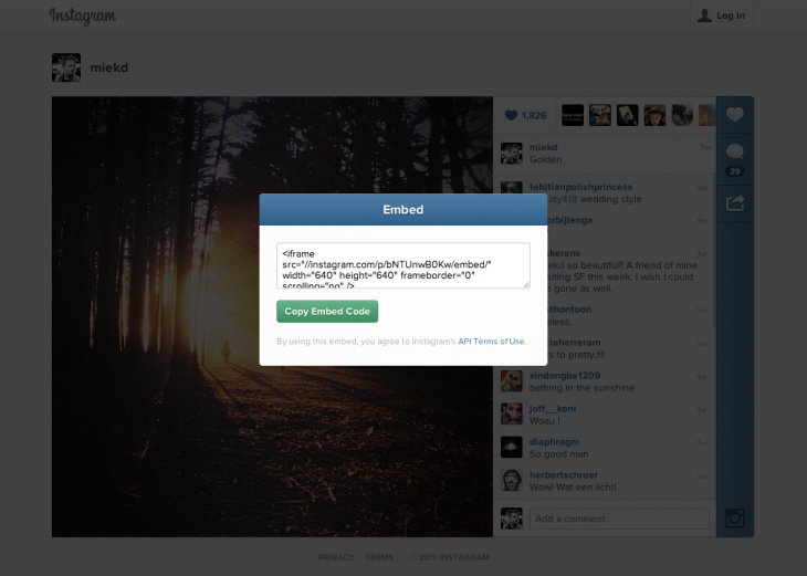01 Embed Modal 730x521 You can now embed Instagram photos and videos on the Web