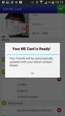 C 220x391 Sync.MEs new ME Card wants to be the only contact card youll ever need