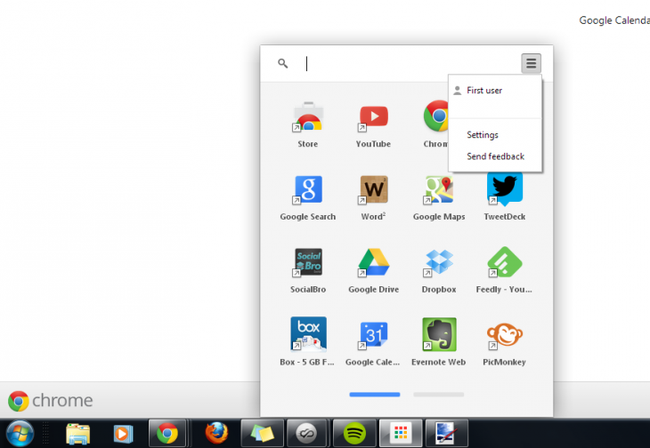 Chrome launcher menu 730x504 Googles Chrome App Launcher is now live for Windows users