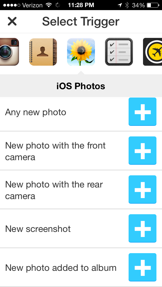 July 10  2013 at 1128PM IFTTT comes to iPhone with a crisp app featuring native Photos, Reminders and Contacts channels