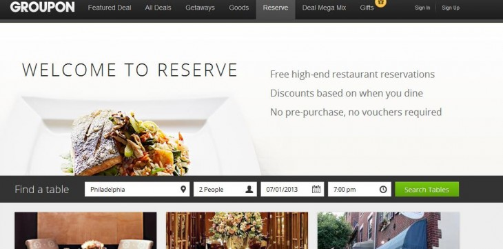 Reserve 730x361 Groupon Reserve is a premium restaurant booking service for discounts without pre payment or vouchers