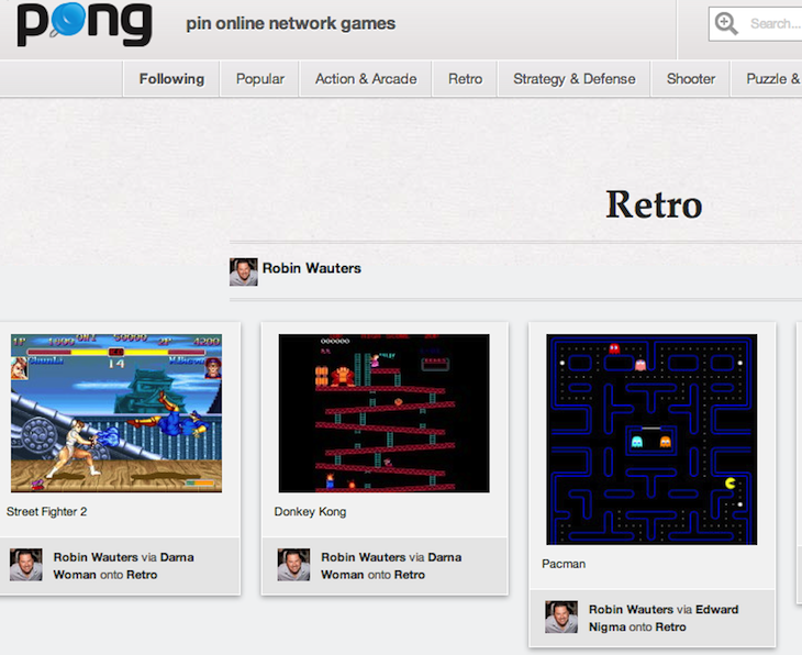 Retro board of Robin Wauters robinwauters Pong Pin Online Network Games Take a break from work: Pong.com emerges as a Pinterest for flash games