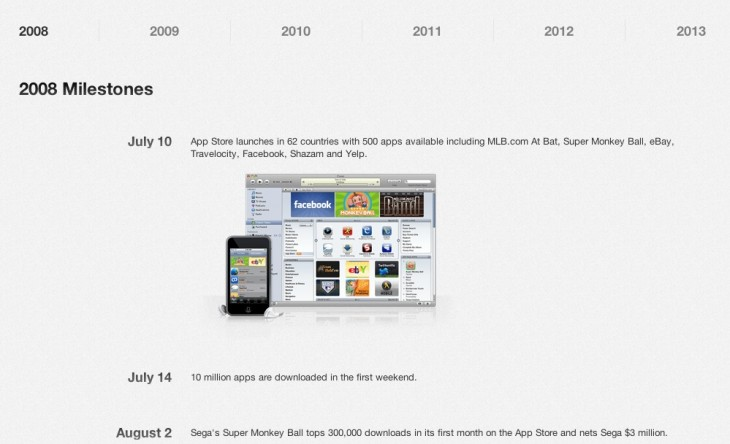 Screen Shot 2013 07 08 at 10.38.50 AM 730x444 Apple celebrates 5 years of App Store with sales, timeline of milestones in iTunes