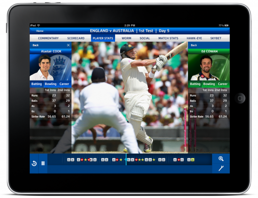 Sky Sports ASHES 2013 520x398 Sky Sports gives Ashes cricket viewers the same stats and Hawk Eye camera as the presenters