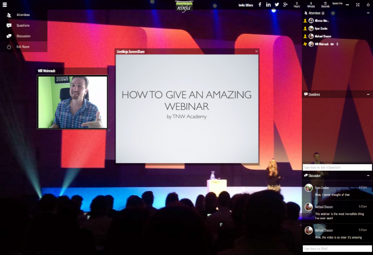 TNW Event screen1 730x499 TNW Academy announces its WebRTC powered platform, built by LiveNinja