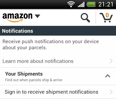 amazon push1 Amazon rolls out shipment push notifications for UK shoppers using its Android apps
