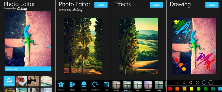 aviaryScreen1 730x303 Aviarys Photo Editor app launches in the Windows Phone Store with in app purchases free for now
