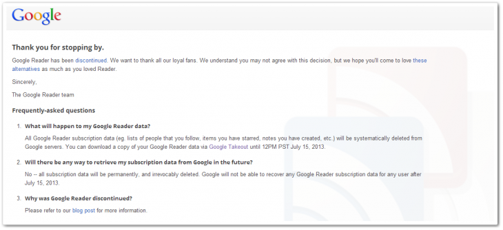 bye bye reader1 730x334 Goodbye Google Reader   thanks for finally opening the door to RSS innovation