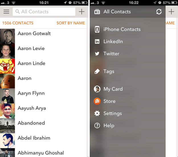 cobook1 Cobook redesigns its contacts book app for iOS with Mailbox style gestures, Instagram and Foursquare integration