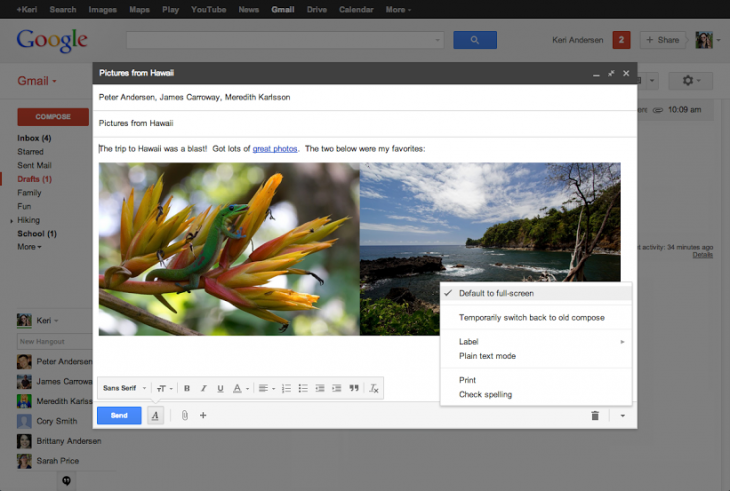 compose 730x491 Google switches everyone to Gmails new compose window, says farewell to the old version for good