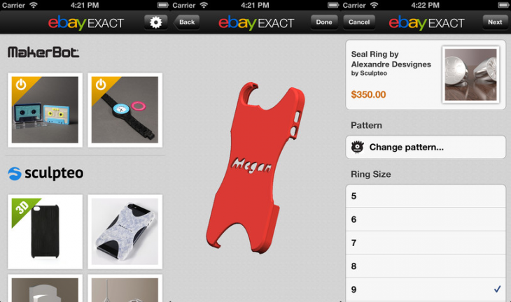 ebay exact ios 730x432 eBay Exact launches on iOS, lets you buy 3D printed products from MakerBot, Sculpteo, and Hot Pop Factory