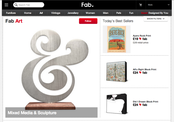 fab 730x512 Fab ditches flash sales emails, unveils following system to help shoppers discover new deals