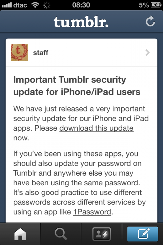 photo 2 520x780 Tumblr updates its iOS app with very important security fix, asks users to change passwords