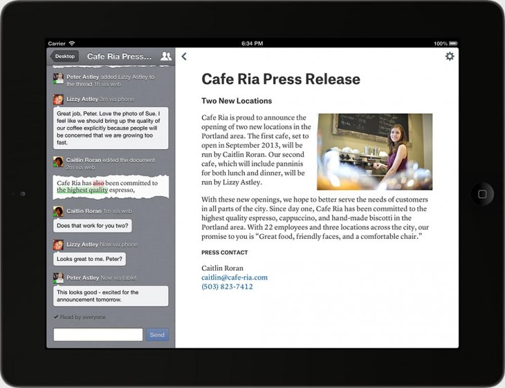 quip press release 730x562 Ex Facebook CTO Bret Taylors Quip is a word processor to serve today's mobile and desktop needs