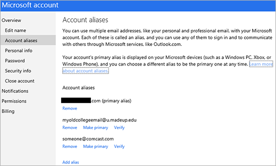 3835.ManageAliases.png 550x0 Microsoft simplifies managing account aliases, lets users add, remove, and set an email address as primary