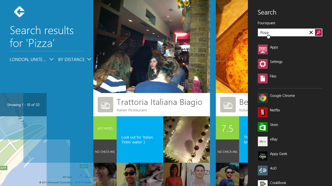 4q Pizza Hands on with Foursquares gorgeous Windows 8 app: Shunning checkins for reviews and discovery