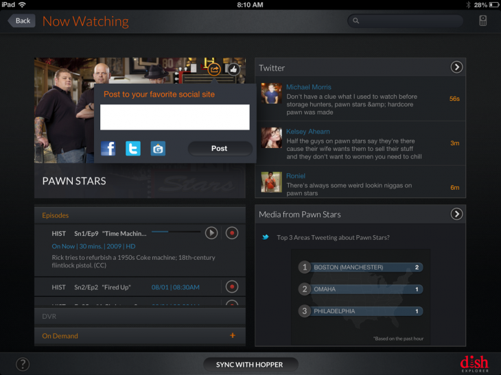 GetGlue1 730x547 DISH plugs GetGlue into its Explorer iPad app to add check ins and curated content