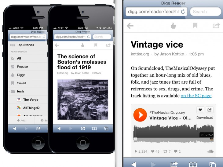 Mobile Web 730x547 Digg adds new reading features to iOS app, brings Reader to the mobile Web, and promises Android app very soon