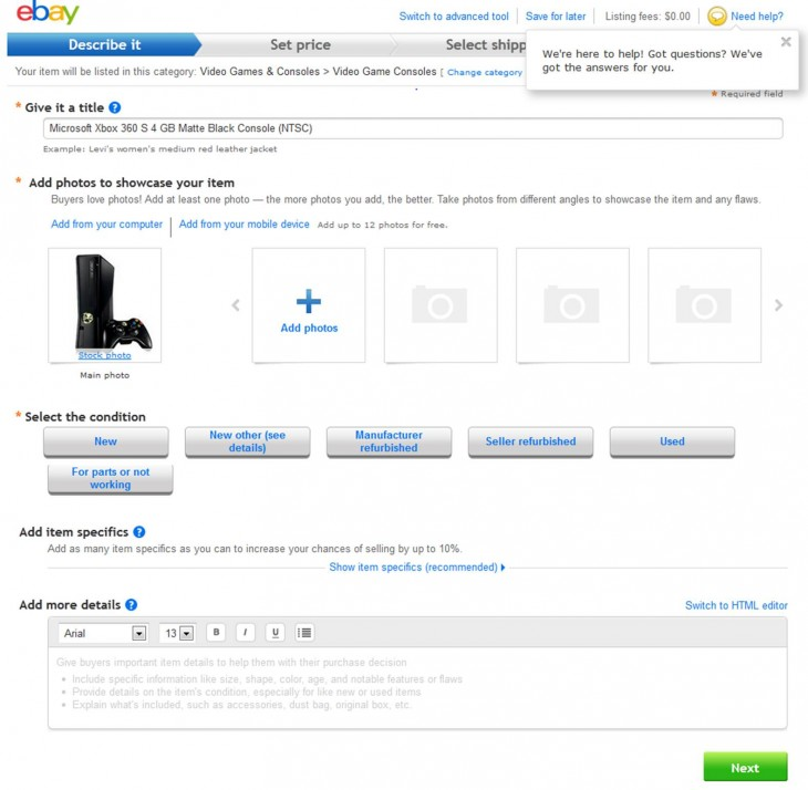 MyGadgets Selling 730x714 eBay launches My Gadgets, an easy way to catalog, value and one day sell your gadgets