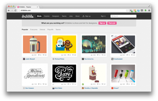 Screen Shot 2013 08 02 at 11.03.22 520x332 How Dribbble became the most influential online platform for graphic designers