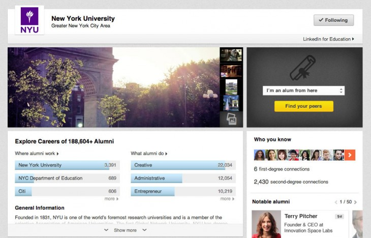 University Page NYU 01 730x468 LinkedIn launches university pages to help high school students find the right college